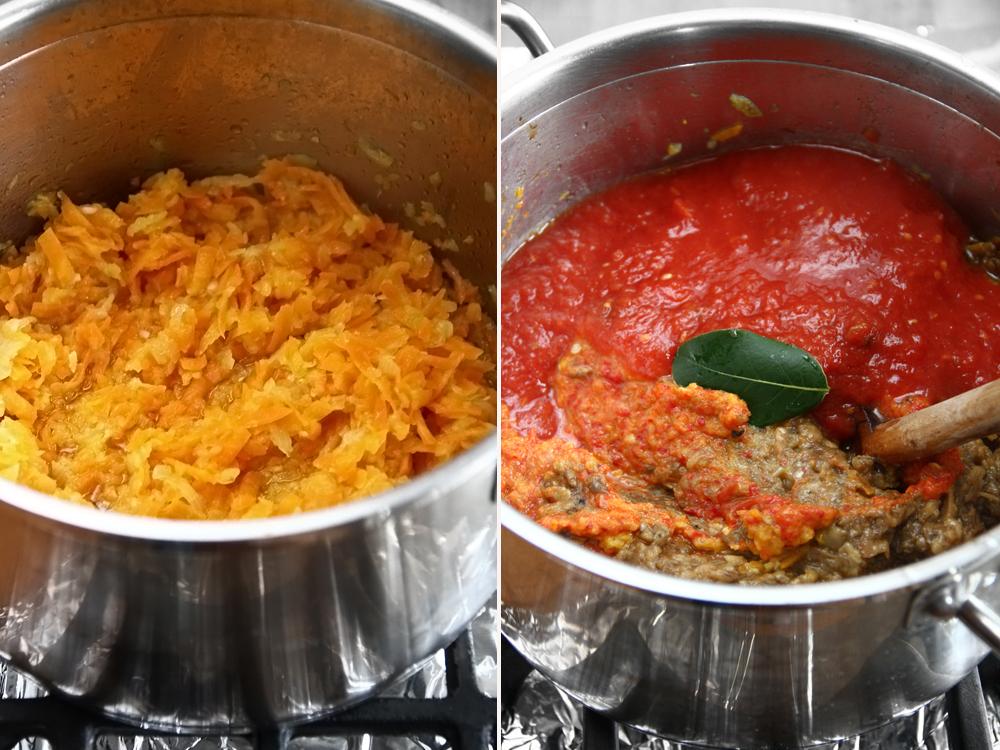 zacusca de vinete cu morcovi preparare reteta