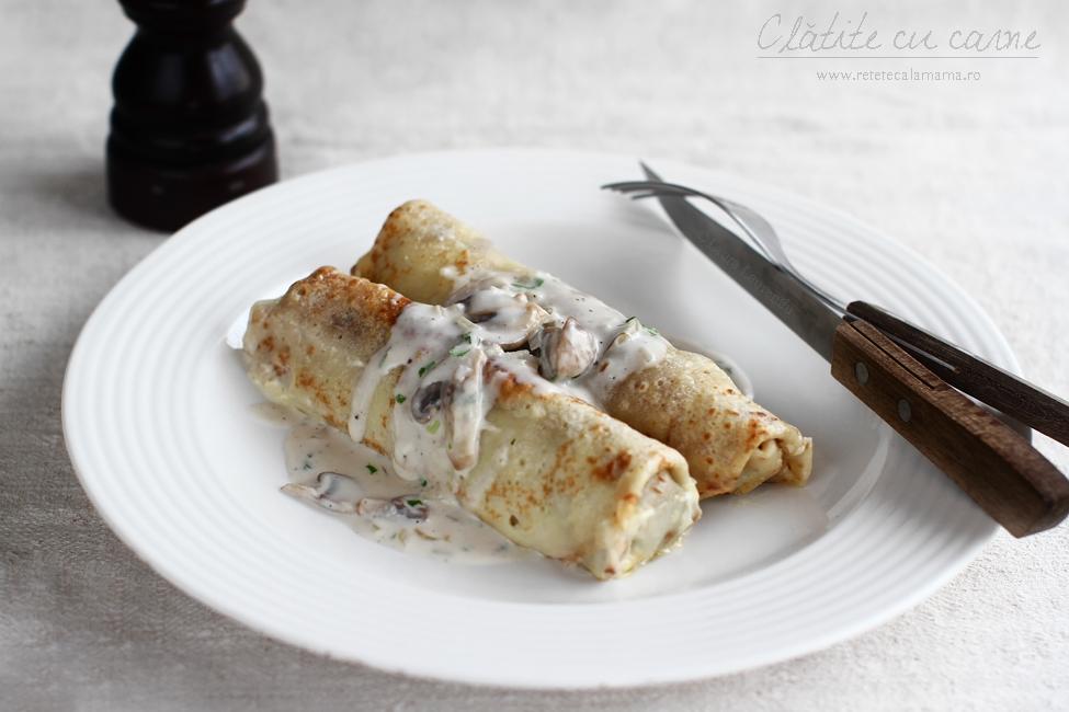 Clătite cu carne tocată și ciuperci, la cuptor