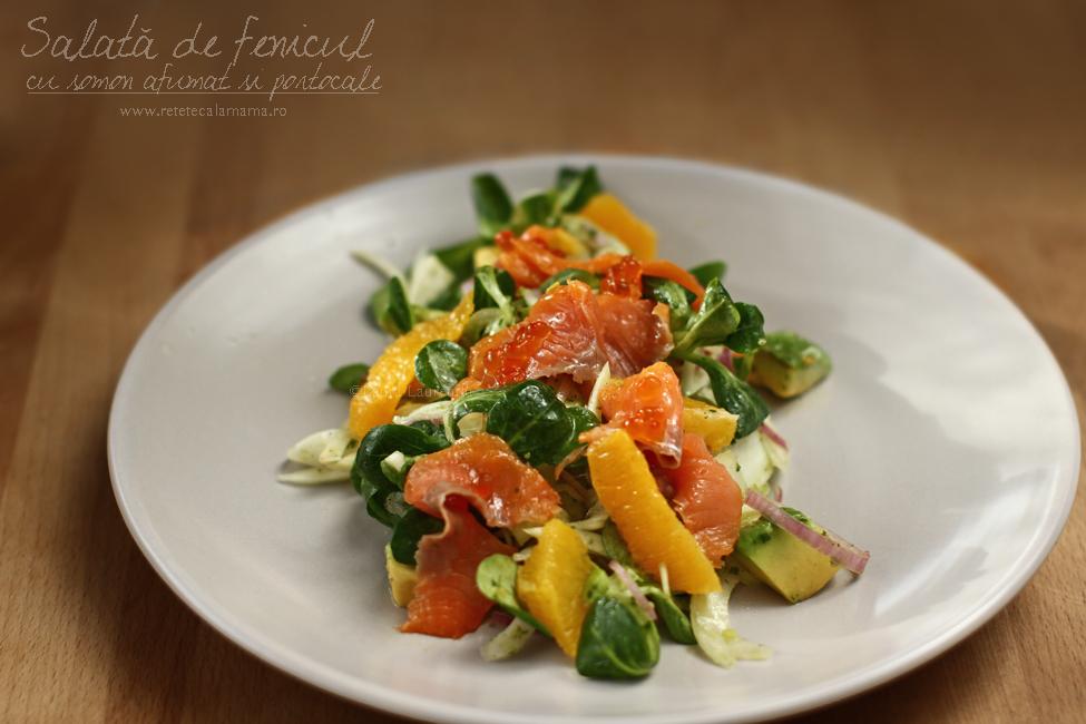 Salată de fenicul cu somon afumat, portocale și avocado