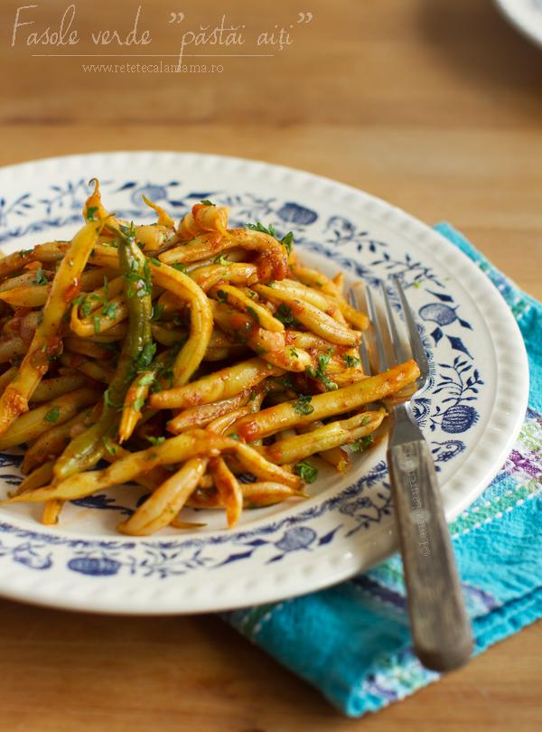 fasole verde pastai cu usturoi si rosii retetecalamamaro 2