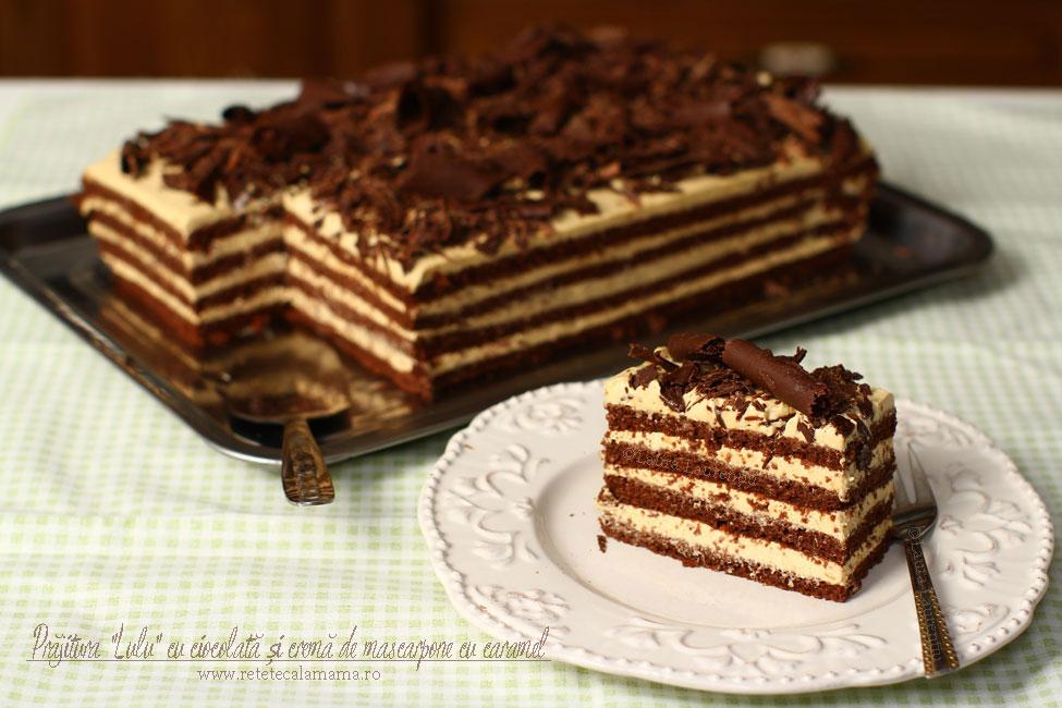 Prăjitura Lulu cu ciocolată și cremă de mascarpone și caramel