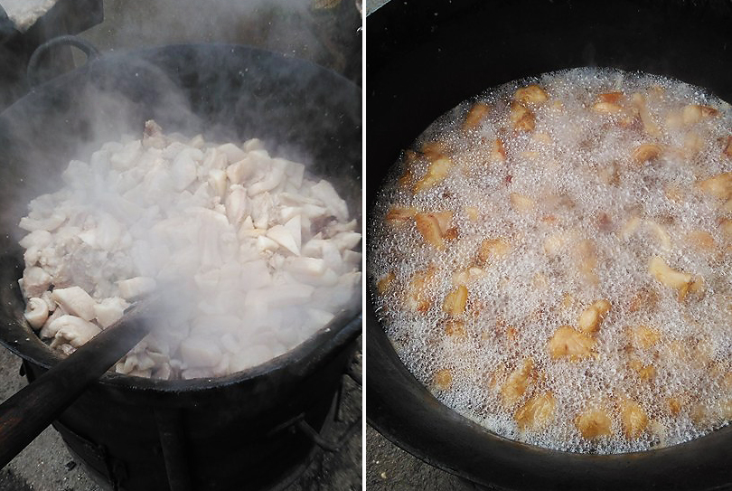 jumari din slanina de porc preparate la cazan