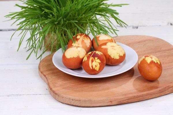 oua vopsite cu coji de ceapa cum se vopsesc ouale de pasti natural cu foi de ceapa oua colorate cu foi de ceapa si decor de frunze si flori