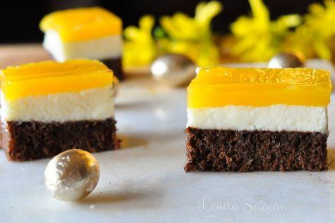 Prăjitura Fanta – prăjitură de casă cu brânză și jeleu de portocale