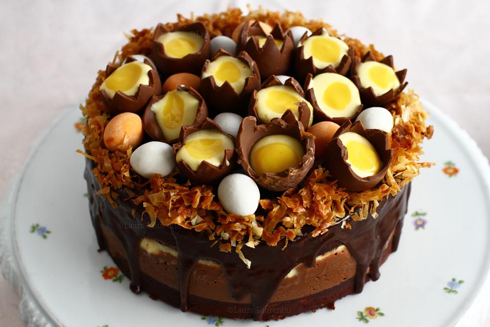 tort cuib de paști cu ciocolată