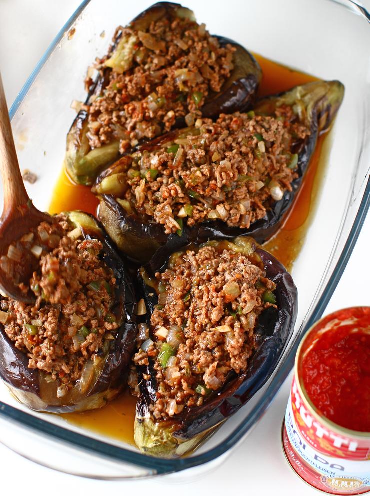vinete umplute cu carne la cuptor vinete karnyarik umplere cu umplutura de carne de vita si legumei