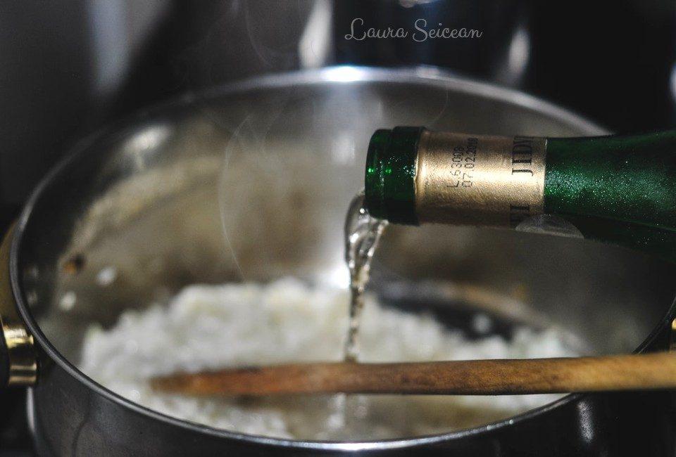 Preparare Risotto cu orez, ciuperci si piure de mazare 8