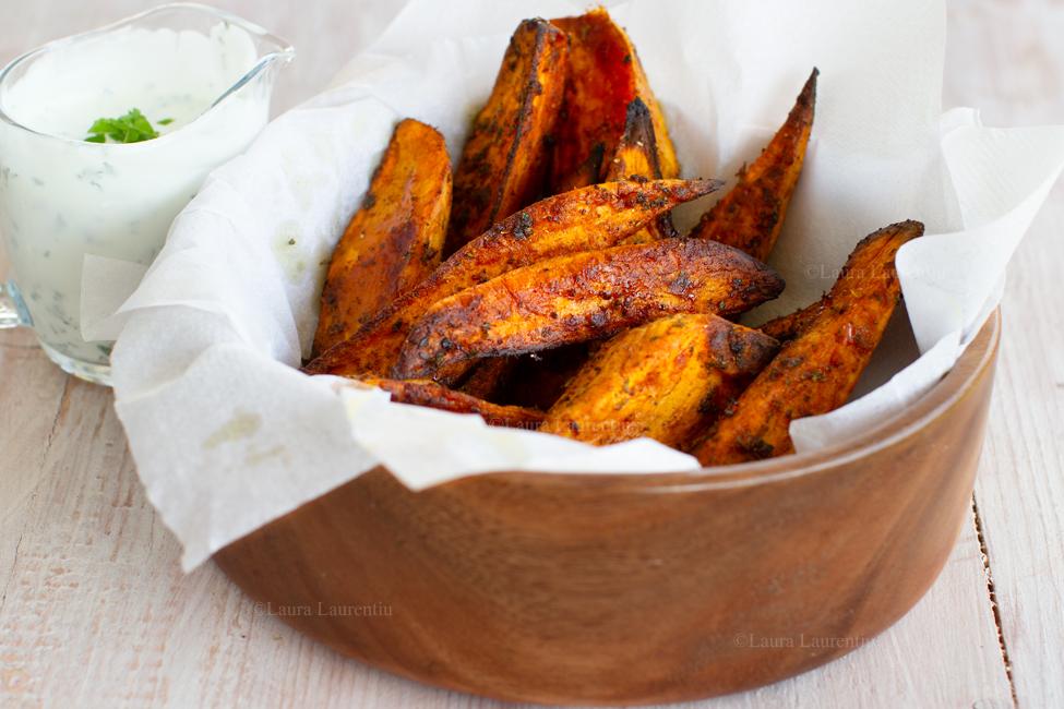 Cartofi dulci la cuptor, crocanți și condimentați