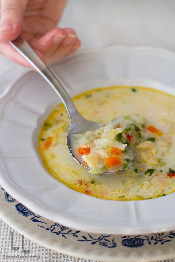 supa de gulii reteta ciorba de gulii cu galuste de faina reteta laura laurentiu