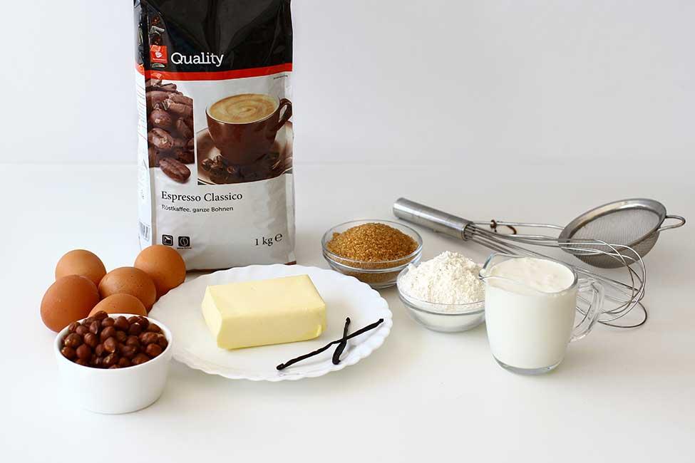 ingrediente pentru prajitura cu cafea si alune