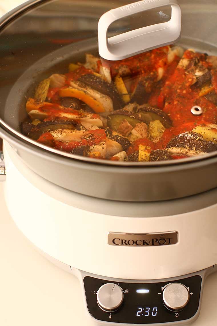 ratatouille in timpul gatirii in crock pot