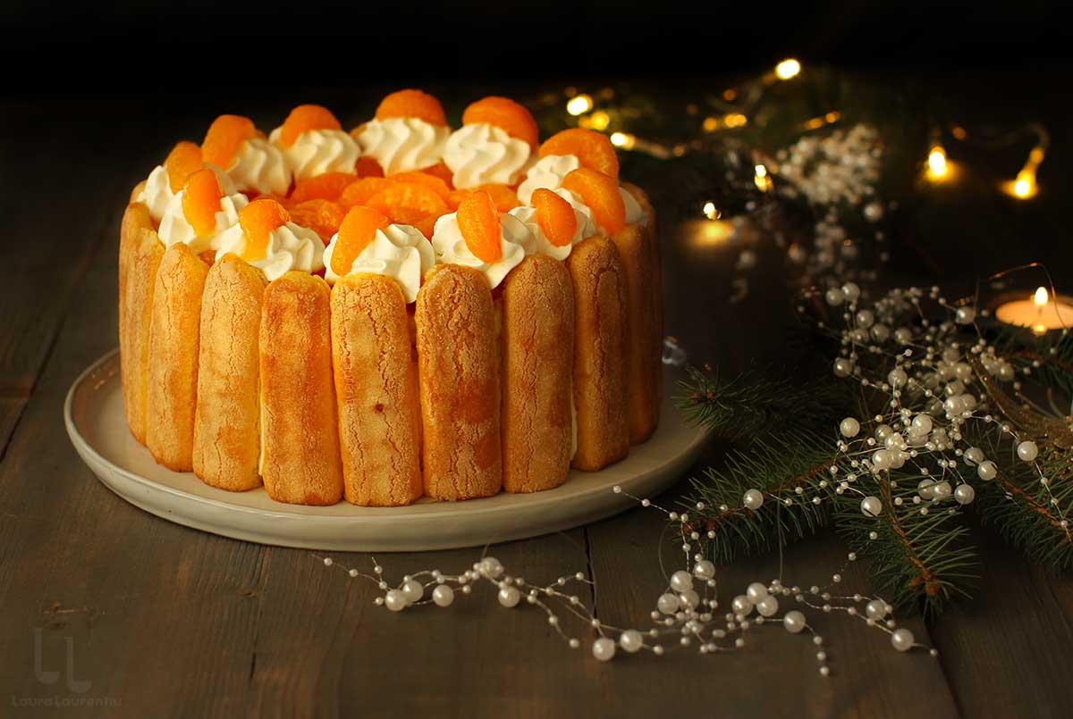 Tort cu mandarine sau portocale Charlotte Russe - fără coacere!