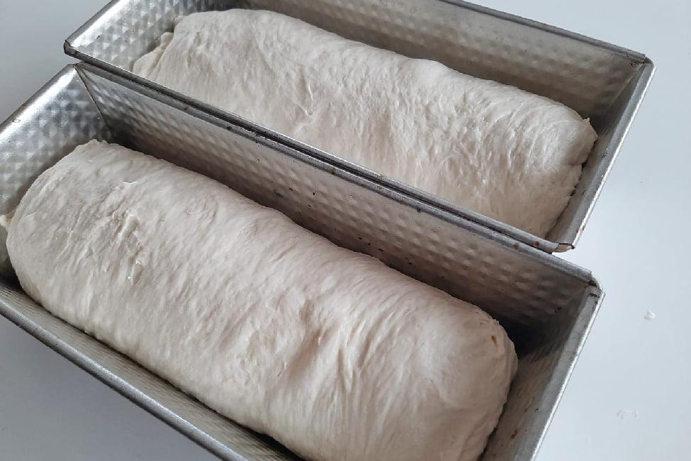 aluatul de paine simpla modelat pus in tavi