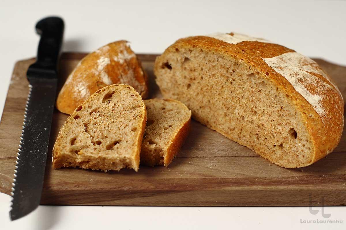 Pâine fără frământare cu făină integrală și plămădeală din drojdie de casă