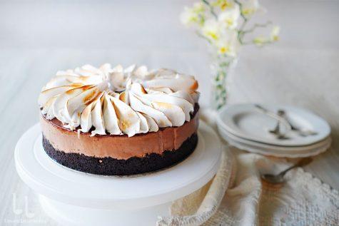 Cheesecake cu ciocolată și caramel, fără coacere
