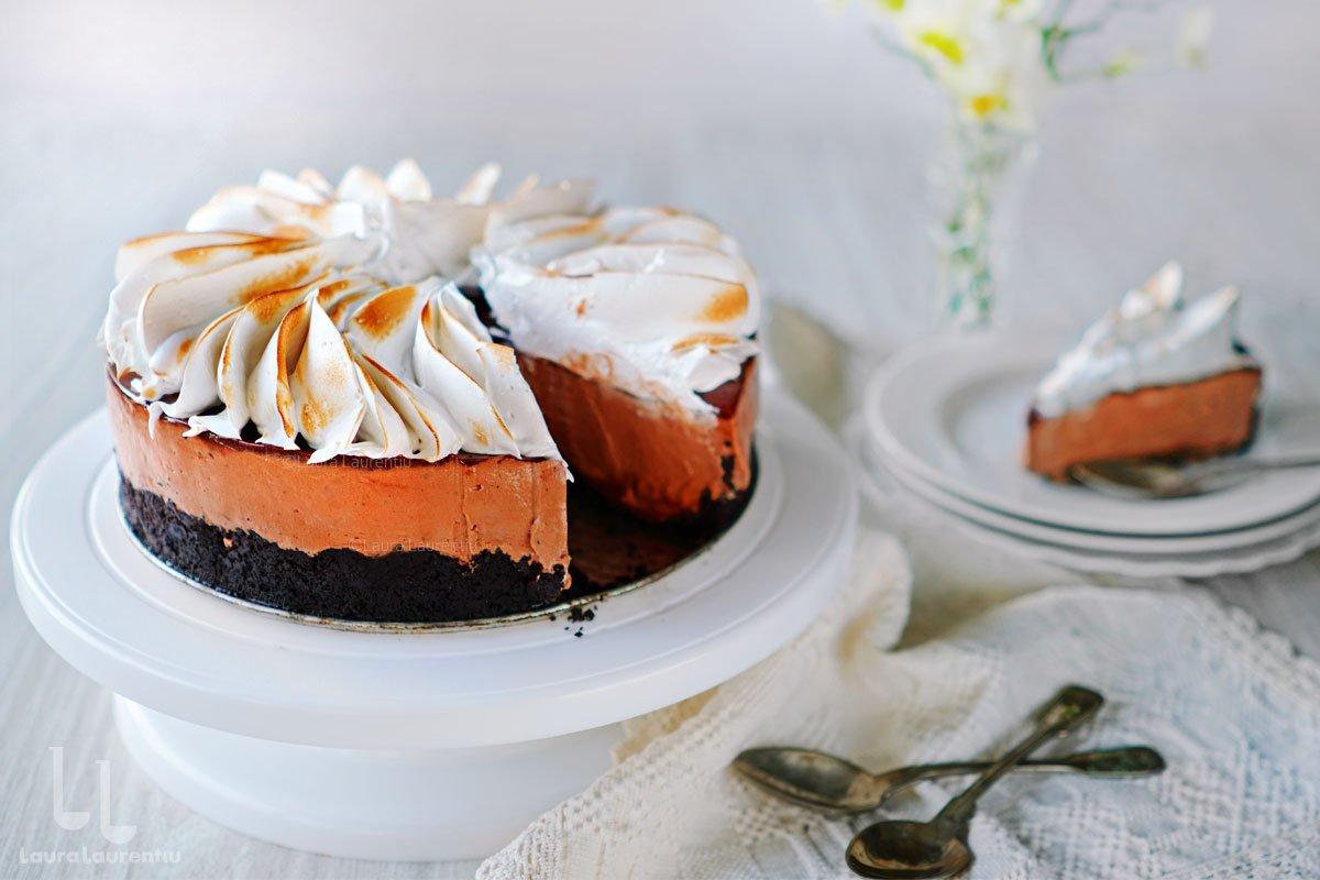 cheesecake cu ciocolata si caramel reteta laura laurentiu
