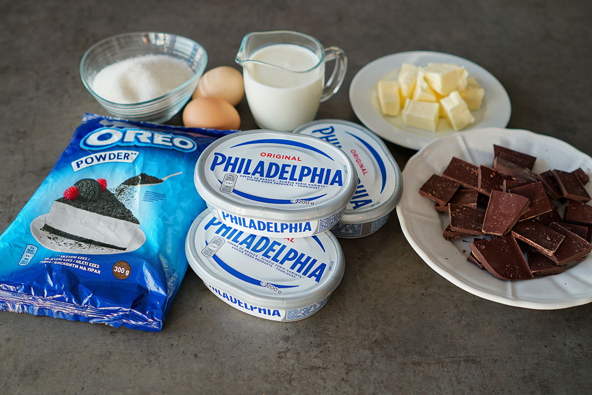 ingrediente pentru cheesecake cu ciocolata