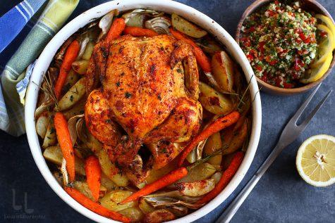 Pui cu harissa și legume la cuptor