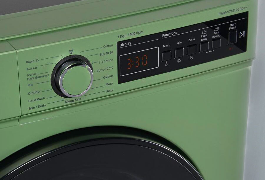 masina de spalat fram display digital culoare verde